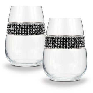 """Shimmering Wines by Stemware Designs Stemless Wine Glasses in """"Raven"""" (Set of 2)"""
