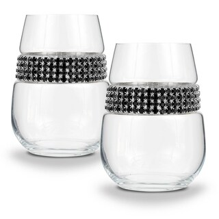 "Shimmering Wines by Stemware Designs Stemless Wine Glasses in ""Raven"" (Set of 2)"