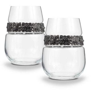 "Shimmering Wines by Stemware Designs Stemless Wine Glasses in ""Vintage Silver"" (Set of 2)"