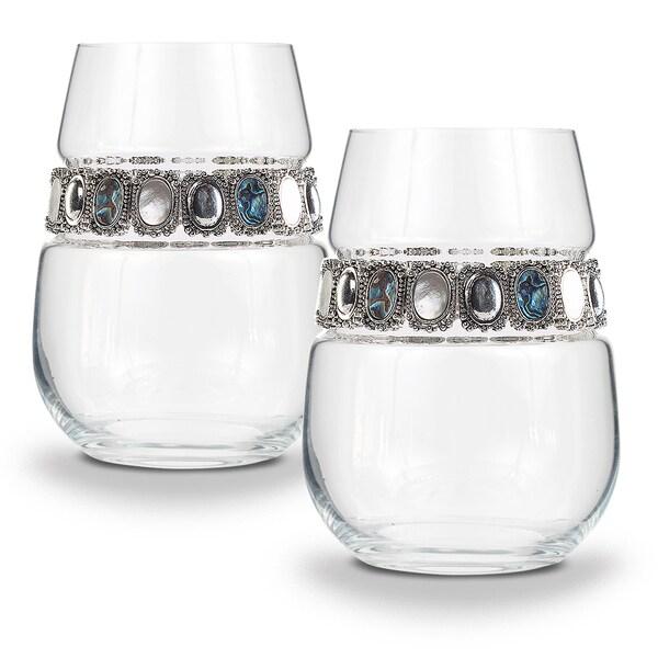 "Shimmering Wines by Stemware Designs ""Gemstone"" Stemless Wine Glasses (Set of 2)"