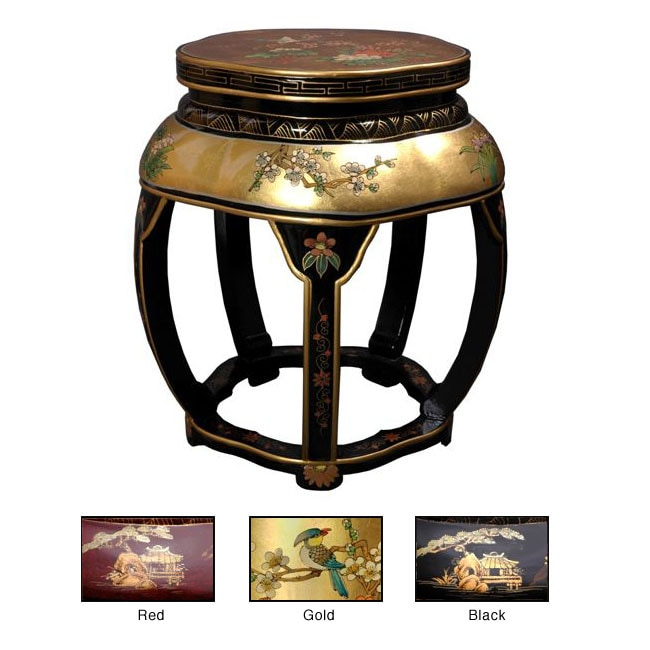 Handmade Lacquer Blossom Stool (China)
