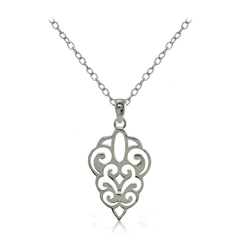 Mondevio Sterling Silver High Polished Filigree Necklace