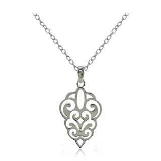 Mondevio Sterling Silver High Polished Filigree Necklace
