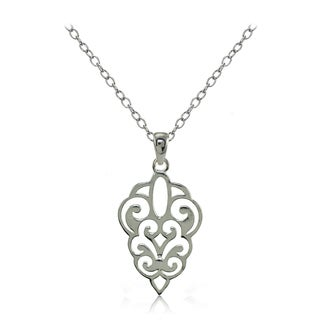 Mondevio Sterling Silver High Polished Filigree Necklace (Option: Gold Plate - Pink)