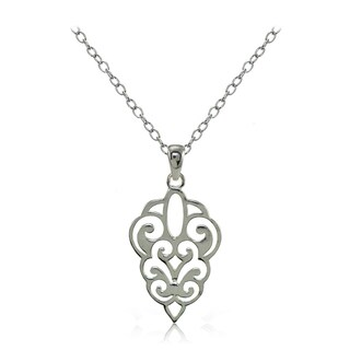 Mondevio Sterling Silver High Polished Filigree Necklace (Option: Pink)