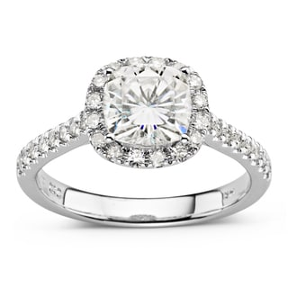 Charles & Colvard 14k White Gold 2ct DEW Cushion Cut Forever Brilliant Moissanite Halo Engagement Ring