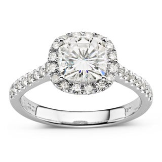 Charles & Colvard 14k White Gold 2ct DEW Cushion Cut Forever Brilliant Moissanite Halo Engagement Ring