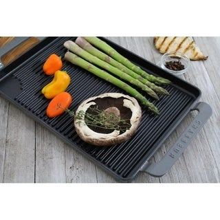 Chasseur 14-inch Caviar-Grey Rectangular French Enameled Cast Iron Grill Pan