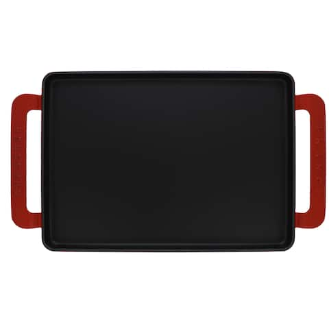 Chasseur 14-inch Red Rectangular French Enameled Cast Iron Griddle