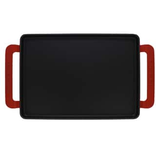 Chasseur 14-inch Red Rectangular French Enameled Cast Iron Griddle|https://ak1.ostkcdn.com/images/products/15210055/P21686793.jpg?impolicy=medium