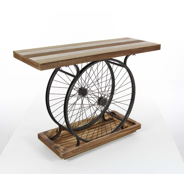 Benzara Decorative Metal And Wood Wheel Console Table