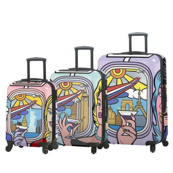 feb04bfee5fe Mia Toro ITALY Jozza Airplane 3 Piece Hardside Spinner Luggage Set