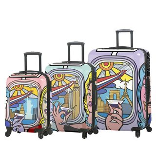 Mia Toro ITALY Jozza Airplane 3 Piece Hardside Spinner Luggage Set