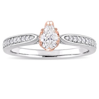 Miadora Signature Collection 2-Tone 14k White and Rose Gold Pear-cut 1/2ct TDW Diamond Engagement Ring