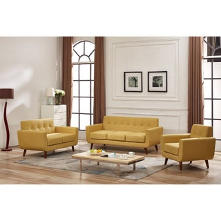 Grace Mid-Century Tufted Upholstered Rainbeau Living Room Sofa, Loveseat, and Chair 3-piece Set (Option: Naples Yellow)