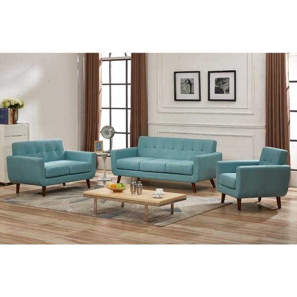 Grace Mid Century Tufted Upholstered Rainbeau Living Room