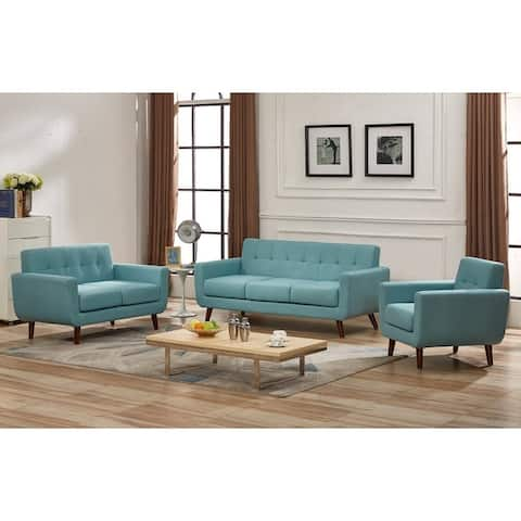 Grace Mid-Century Tufted Upholstered Rainbeau Living Room Sofa, Loveseat, and Chair 3-piece Set