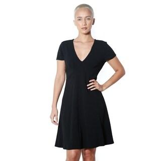 Women's Black V-neck Casual Dress