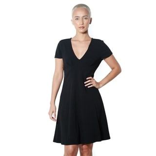 Women's Black V-neck Casual Dress