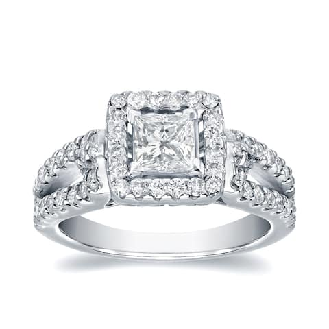 Auriya Platinum 1 2/5ctw Modern Princess-cut Halo Diamond Engagement Ring