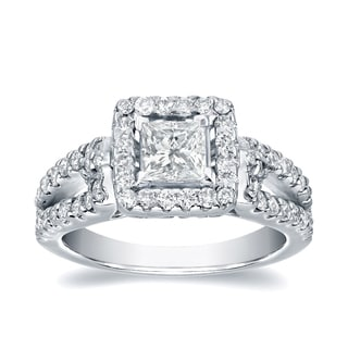 Auriya Platinum 1 2/5ct TDW Certified Princess Cut Diamond Engagement Ring (J-K, I1-I2)