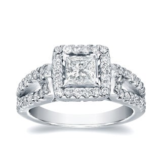 Auriya Platinum 1 2 5ct TDW Certified Princess Cut Diamond Halo Engagement Ring
