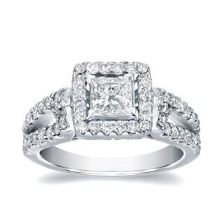 Auriya Platinum 1 2/5ct TDW Certified Princess-Cut Diamond Halo Engagement Ring