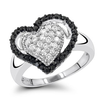 Luxurman 14K White Black Diamond Heart Ring 0.60ct (H-I, Black; I1-I2, AAA)
