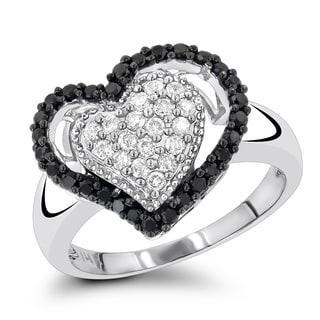 Luxurman 14K White Black Diamond Heart Ring 0.60ct (H-I, Black; I1-I2, AAA)