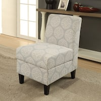 Acme Furniture Ollano II Pattern Fabric and Wood Accent Chair with Storage