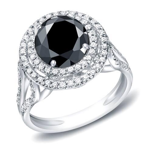 Auriya Platinum 2 1/4ctw Unique Black Diamond Halo Engagement Ring