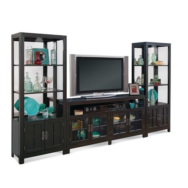 B Q Kitchen Cabinets Sale: Shop Philip Reinisch Saybrook Black Wood/Glass TV Console