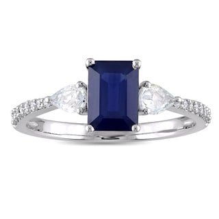 Miadora Signature Collection 14k White Gold Blue and White Sapphire with 1/10ct TDW Diamond Engagement Ring