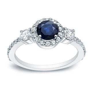 Auriya Platinum 1/4ct Blue Sapphire and 1/2ct TDW Round Cut Diamond Engagement Ring (H-I, SI1-SI2)