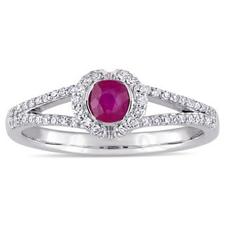 Miadora Signature Collection 14k White Gold Ruby and 1/5ct TDW Diamond Halo Split Shank Engagement Ring