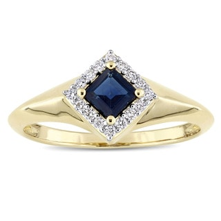 Miadora Signature Collection 14k Yellow Gold Square Blue Sapphire 1 10ct TDW Diamond Halo Engagement