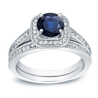 Auriya Platinum 2/5ct Blue Sapphire and 3/5ct TDW Round Cut Diamond Bridal Ring Set (H-I, SI1-SI2)