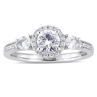 Miadora Signature Collection 14k White Gold White Sapphire and 1/8ct TDW Diamond Halo Engagement Ring