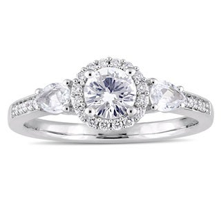 Miadora Signature Collection 14k White Gold White Sapphire and 1/8ct TDW Diamond Halo Engagement Rin