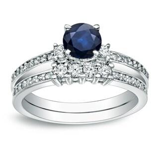 Auriya Platinum 1/2ct Blue Sapphire and 1/2ct TDW Round Cut Diamond Bridal Ring Set (H-I, I1-I2)