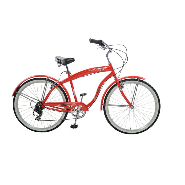 "Cycle Force Men's Stylish Cruiser, 26"", red or white"