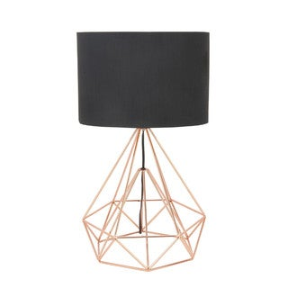Benzara Black And Gold Iron Drum Shaped Table Lamp