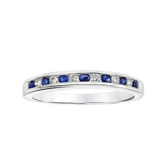 Cambridge 10k White Gold Blue Sapphire and Diamond Accent Band