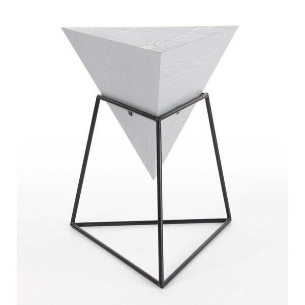 Charmant Benzara Ash White Triangle Accent Table