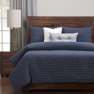 Strick & Bolton Stom Cotton-blend Burlap Indigo Down Alt Duvet Cover Set