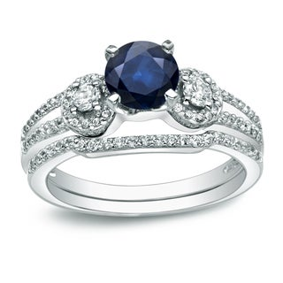 Auriya Platinum 1/2ct Blue Sapphire and 1/2ct TDW Round Cut Diamond Bridal Ring Set (H-I, I1-I2)