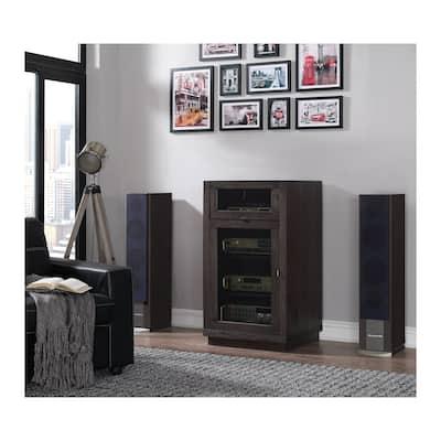 Coltrane AV Component Cabinet with Lift Top for Record Player, Espresso Pine
