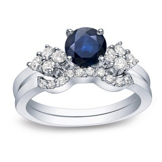 Auriya Platinum 3/5ct Blue Sapphire and 1/2ct TDW Round Cut Diamond Bridal Ring Set (H-I, I1-I2)