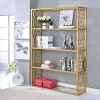 Acme Furniture Blanrio Clear/Gold Glass/Metal Bookshelf