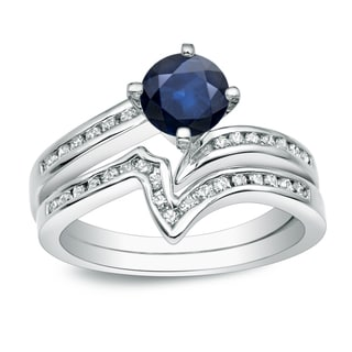 Auriya Platinum 3/4ct Blue Sapphire and 1/4ct TDW Round Cut Diamond Bridal Ring Set (H-I, I1-I2)